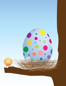 Easter Egg And Chick In Nest Royalty Free Stock Photo