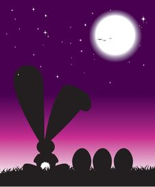 Free Silhouette Of Easter Bunny And Eggs Royalty Free Stock Photography - 8183607