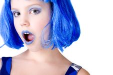 Free Girl With A Blue Wig Stock Image - 8183681