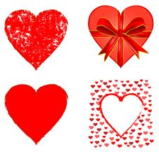 Free Set Of Red Hearts Stock Images - 8183684