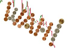 Free Interjection With Coins On Candlesticks Chart. Royalty Free Stock Photos - 8183858