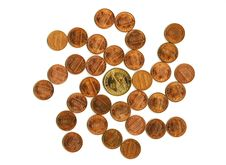 Free An American Coins In Vortex Motion, Isolated. Royalty Free Stock Photos - 8183908