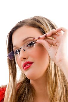Free Female Model Holding Her Spectacles Stock Photography - 8184192