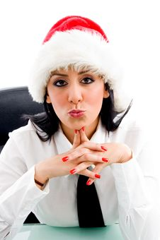 Christmas Woman Giving Kiss Royalty Free Stock Image