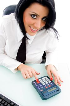 Free Female Operating Calculator Royalty Free Stock Images - 8184399