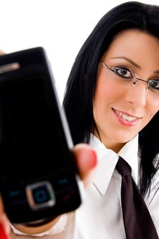 Lawyer Showing Cell Phone Stock Photos