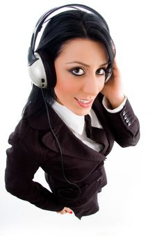 Young Accountant Holding Headphone Royalty Free Stock Image