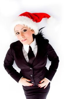 Young Employee Wearing Christmas Hat Royalty Free Stock Image