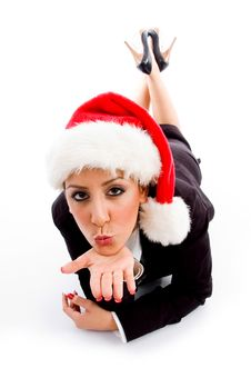 Free Employee With Christmas Hat Giving Flying Kiss Royalty Free Stock Photography - 8184477