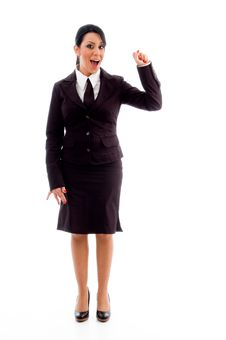 Standing Accountant Showing Counting Hand Gesture Stock Images