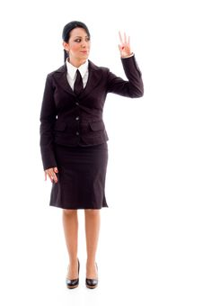 Free Standing Lawyer Showing Counting Hand Gesture Stock Photo - 8184520