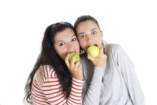 Free Two Friends Eating Apple Stock Image - 8185221