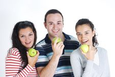 Free Friends Eating Apple Royalty Free Stock Photo - 8185235