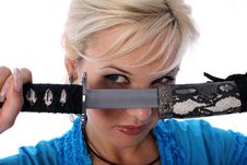 Free Katana And Girl Stock Image - 8185511