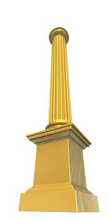 3d Rendered Illustration Of A Gold Column