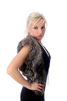 Free Girl With Fur Isolated In White Stock Image - 8186101