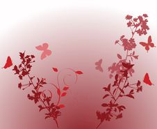 Free Pink Butterflies And Two Cherry Tree Branches Royalty Free Stock Images - 8187189