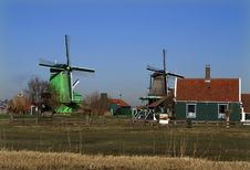 Wood And Paint Windmill, Zaanse Schans Royalty Free Stock Photo