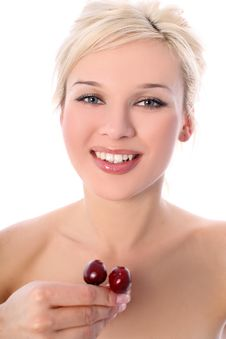 Blonde With Cherry Stock Images