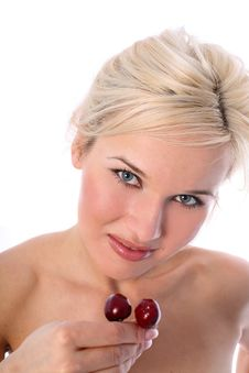 Blonde With Cherry Stock Photography