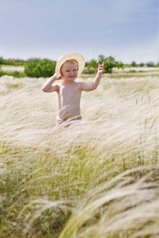 Free Girl In Feather-grass Stock Images - 8188784