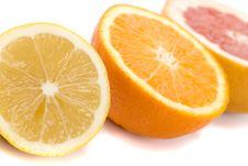 Lemon, Orange And Grapefruit Stock Photo