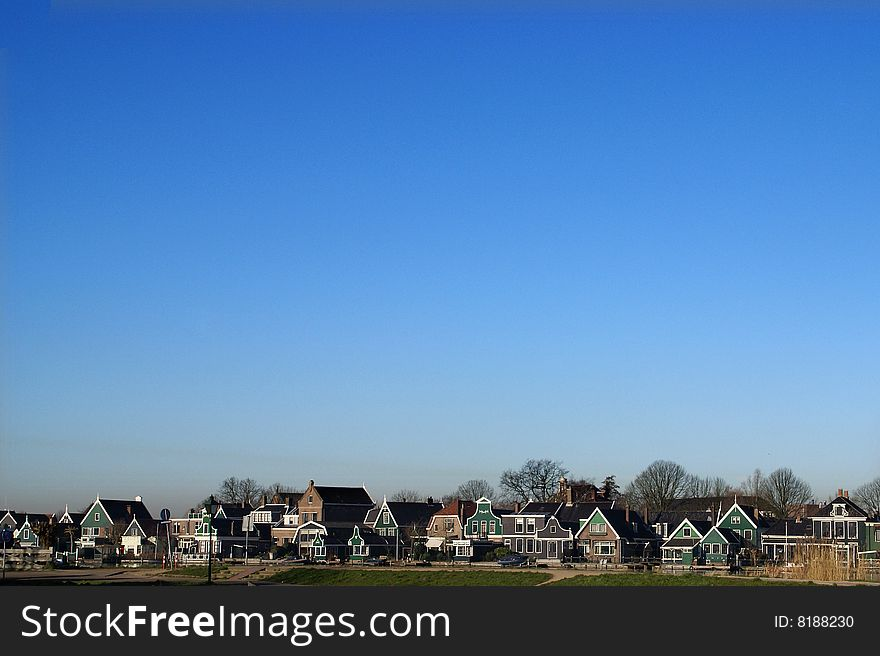 View with typical  Dutch Zaanse houses