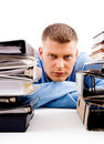 Free Young Professional Looking Between Files Stock Image - 8197251