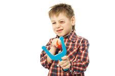 Free Little Boy With A Slingshot Royalty Free Stock Photos - 8190308
