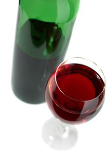 Free Bottle And Glass Of Red Wine Stock Image - 8190531
