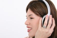 Profile Beautiful Hispanic Woman With Headphones Stock Photo