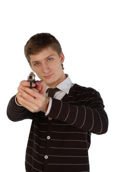 Free Young Man Aiming With A Gun Royalty Free Stock Images - 8191199