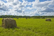 Free Haystack In The Field Royalty Free Stock Photos - 8191648