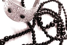 Free Bracelet And Black Necklace Stock Photos - 8191663