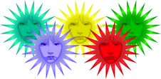 Free Colorful Flower Shaped Suns With Faces Stock Photos - 8192413
