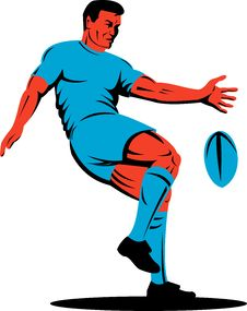 Free Rugby Player Kicking The Ball Royalty Free Stock Images - 8193539