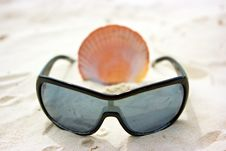 Still Life With Sunglasses And Shell Stock Photo