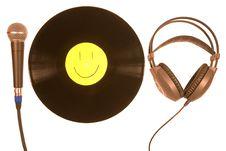 Free Vinyl, Microphone And  Headphones Stock Photography - 8195402