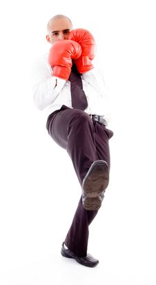 Male Posing In Boxing Gloves Stock Photo