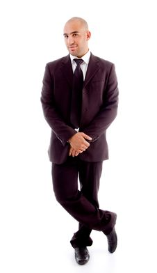 Free Bald Businessman In Stylish Standing Pose Stock Images - 8196244