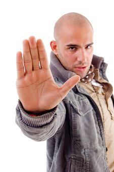 Free Young Male With Stopping Hand Gesture Royalty Free Stock Image - 8196346
