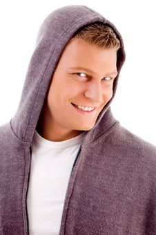 Free Smiling Man With Hood Coat Stock Images - 8196654