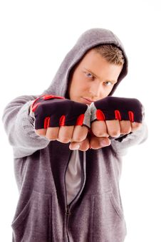 Free Young Male Showing Fists Stock Photography - 8196662