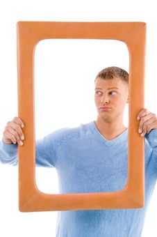 Free Adult Man Holding Frame Stock Photography - 8196782