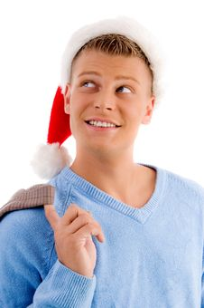Free Christmas - Smiling Young Man With Christmas Hat Stock Image - 8196881