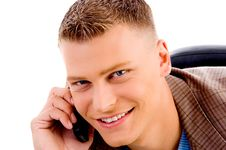 Free Close Up Of Man Talking On Mobile Phone Royalty Free Stock Images - 8197029