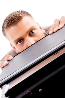 Free Man Peeping From Files Royalty Free Stock Photos - 8197048