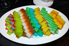 Colorful Local Cake In The Plate Stock Photos