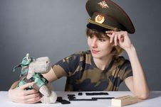 Free Beautiful Young Girl In Form Of Russian Army Royalty Free Stock Image - 8197266