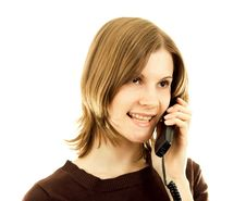Girl Talking On The Phone; Isolated On White Royalty Free Stock Photos